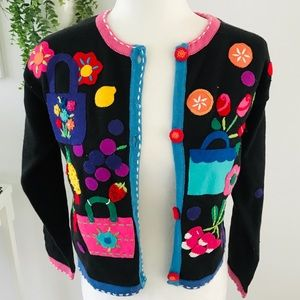Quirky colorful vintage cardigan